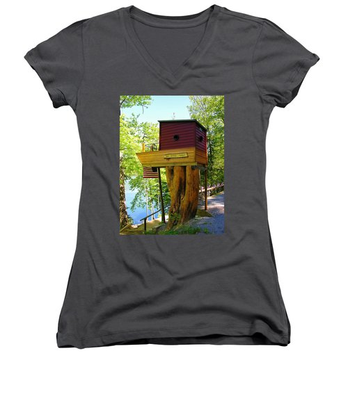 Tree House Boat Women's V-Neck (Athletic Fit)