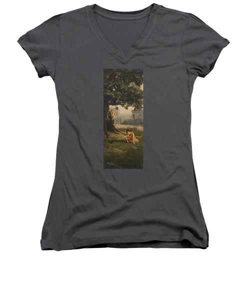Tree House Women's V-Neck T-Shirt (Junior Cut) by Duane R Probus