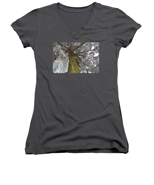 Women's V-Neck T-Shirt (Junior Cut) featuring the photograph Tree In Winter by Felicia Tica