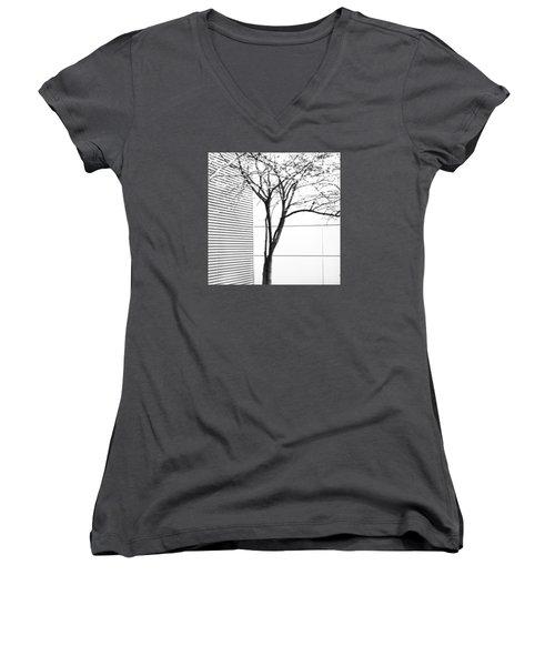 Tree Lines Women's V-Neck T-Shirt (Junior Cut) by Darryl Dalton