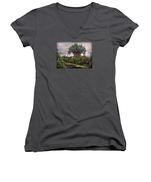 Tree Of Life Women's V-Neck T-Shirt (Junior Cut) by Hanny Heim