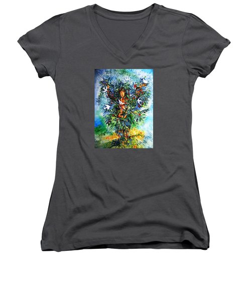 Tree Of Life  Women's V-Neck T-Shirt (Junior Cut) by Trudi Doyle
