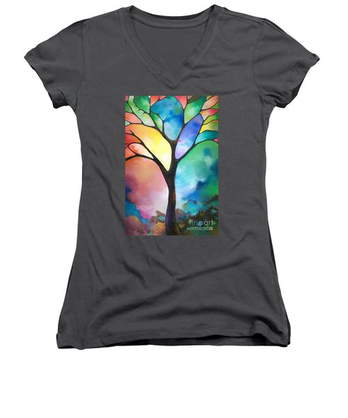 Original Art Abstract Art Acrylic Painting Tree Of Light By Sally Trace Fine Art Women's V-Neck T-Shirt (Junior Cut) by Sally Trace