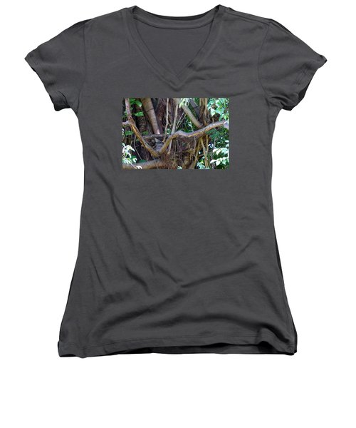 Women's V-Neck T-Shirt (Junior Cut) featuring the photograph Tree by Rafael Salazar