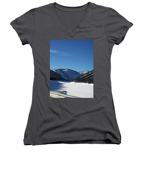 Women's V-Neck T-Shirt (Junior Cut) featuring the photograph Tree Shadows by Jewel Hengen