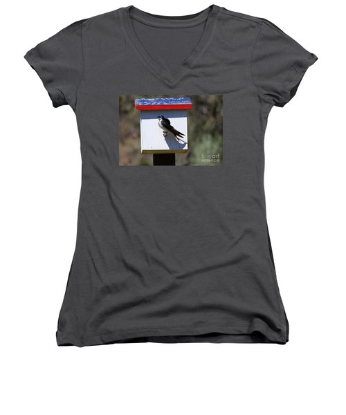 Tree Swallow Home Women's V-Neck T-Shirt (Junior Cut) by Mike  Dawson