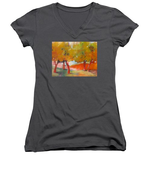 Trees #5 Women's V-Neck T-Shirt (Junior Cut) by Michelle Abrams