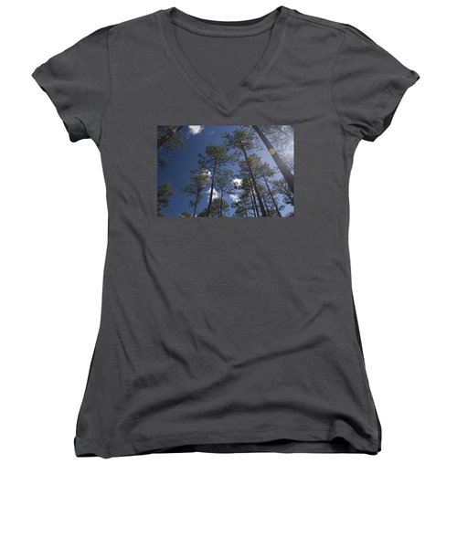 Women's V-Neck T-Shirt (Junior Cut) featuring the photograph Trees And Nature by Charles Beeler