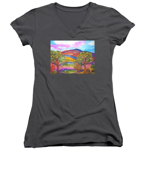 Trees And The Mountain Women's V-Neck T-Shirt