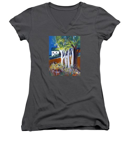 Women's V-Neck T-Shirt (Junior Cut) featuring the painting Trees And White Farm House by Betty Pieper