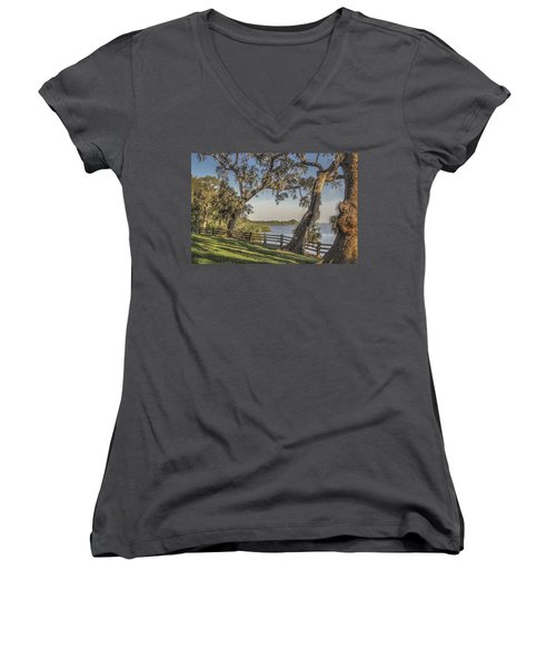 Women's V-Neck T-Shirt (Junior Cut) featuring the photograph Trees With A View by Jane Luxton
