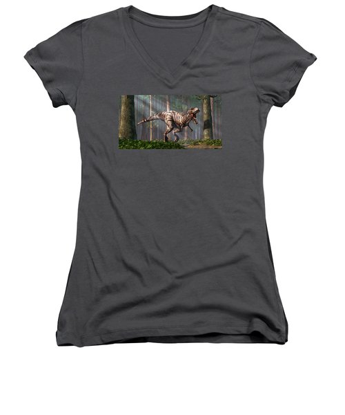 Trex In The Forest Women's V-Neck