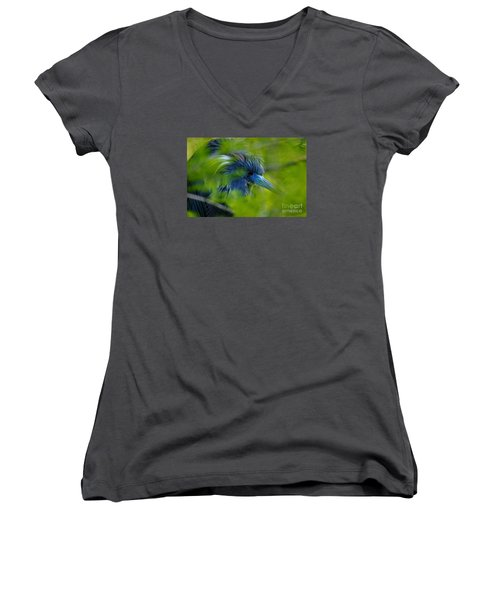 Women's V-Neck T-Shirt (Junior Cut) featuring the photograph Tri-colored Heron Concealed    by John F Tsumas