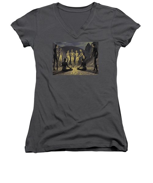 Women's V-Neck T-Shirt (Junior Cut) featuring the digital art Tribe by John Alexander