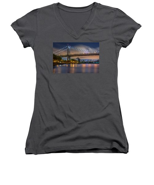 Triboro Bridge Women's V-Neck T-Shirt (Junior Cut) by Mihai Andritoiu