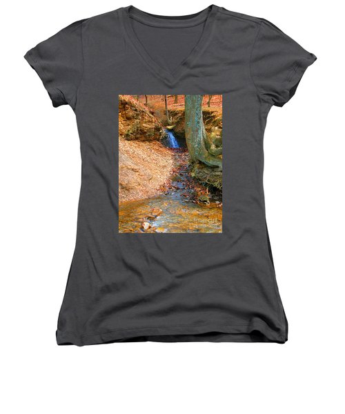 Trickling Waterfall By Shellhammer Women's V-Neck