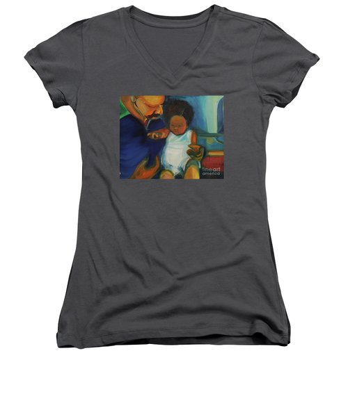 Women's V-Neck T-Shirt (Junior Cut) featuring the painting Trina Baby by Daun Soden-Greene