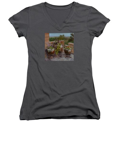 Women's V-Neck T-Shirt (Junior Cut) featuring the painting Trio by Pattie Wall