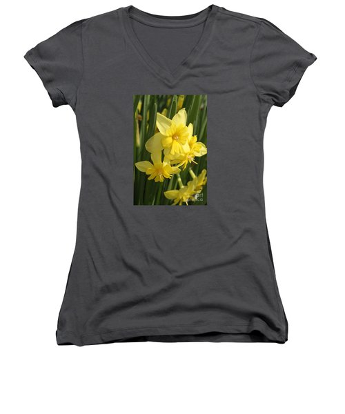 Tripartite Daffodil Women's V-Neck T-Shirt (Junior Cut) by Judy Whitton
