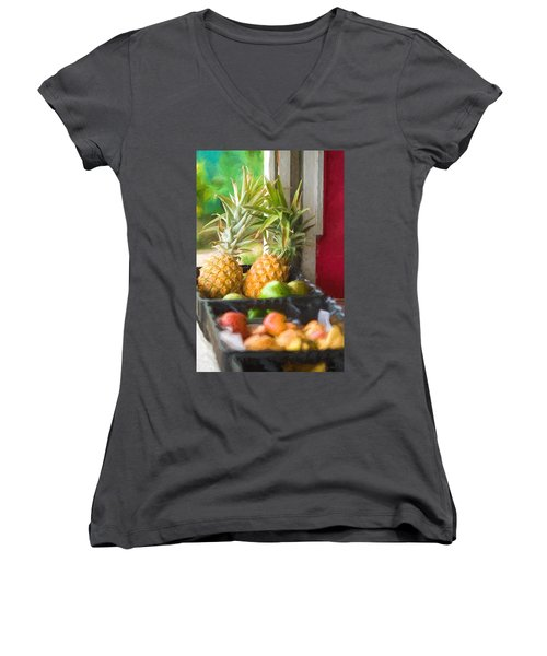 Tropical Fruitstand Women's V-Neck (Athletic Fit)