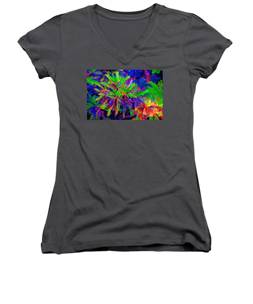 Women's V-Neck T-Shirt (Junior Cut) featuring the photograph Tropicals Gone Wild by David Lawson