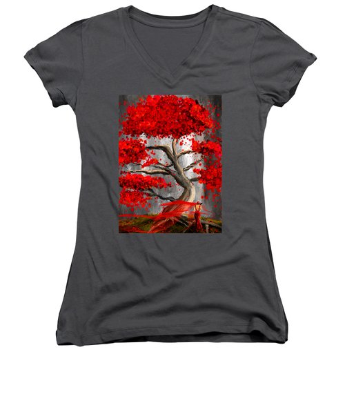 True Love Waits - Red And Gray Art Women's V-Neck