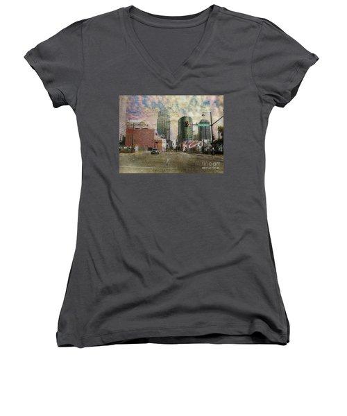 Truman Road Kansas City Missouri Women's V-Neck T-Shirt (Junior Cut) by Liane Wright