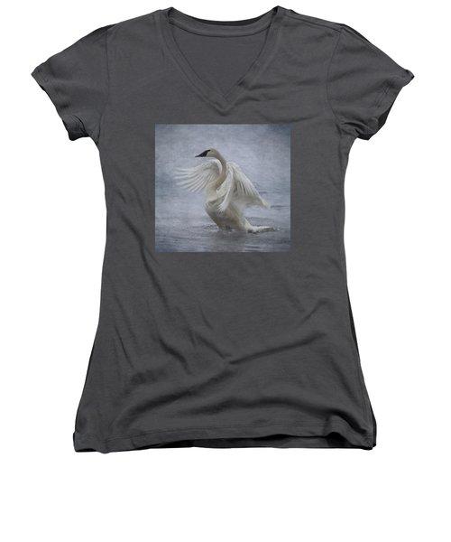 Trumpeter Swan - Misty Display Women's V-Neck