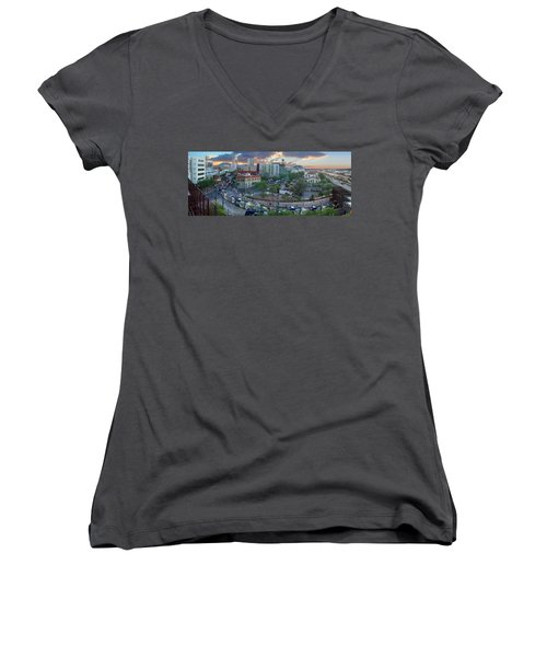 Tucson Streetcar Sunset Women's V-Neck (Athletic Fit)