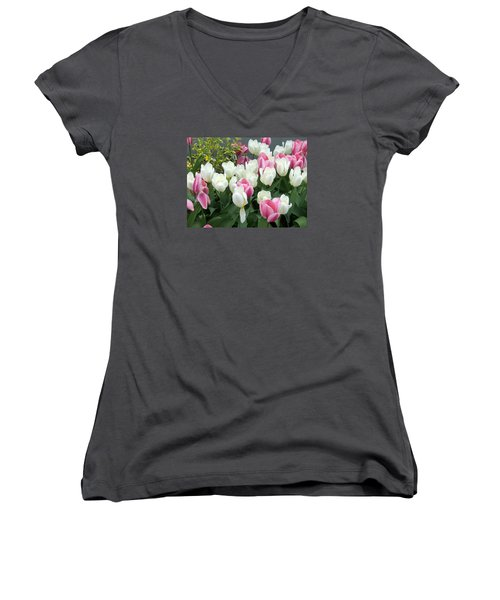 Purple And White Tulips Women's V-Neck T-Shirt (Junior Cut) by Catherine Gagne