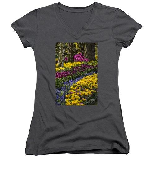 Tulip Beds Women's V-Neck T-Shirt (Junior Cut) by Sonya Lang