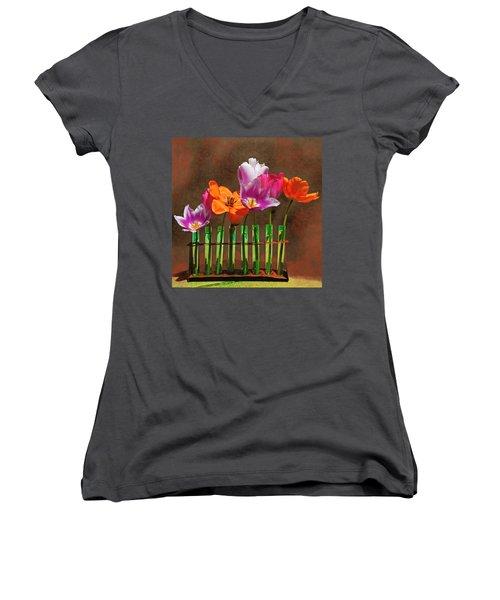 Tulip Experiments Women's V-Neck T-Shirt (Junior Cut) by Jeff Burgess
