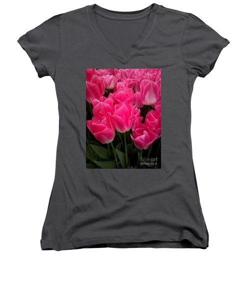 Women's V-Neck T-Shirt (Junior Cut) featuring the photograph Tulip Festival - 19 by Hanza Turgul