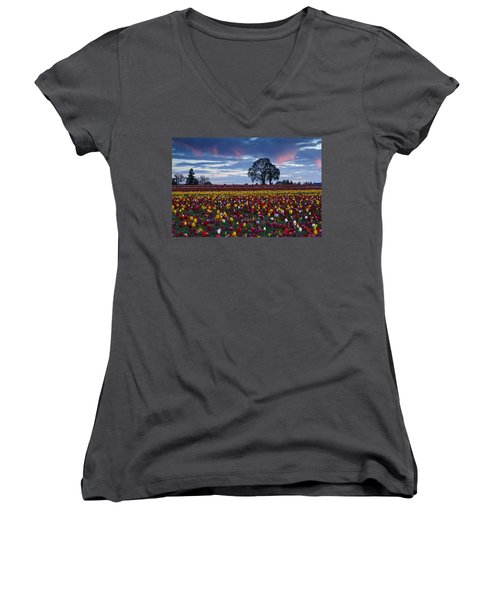 Tulip Field's Last Colors Women's V-Neck T-Shirt (Junior Cut) by Wes and Dotty Weber