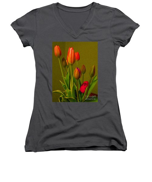Tulips Against Green Women's V-Neck T-Shirt