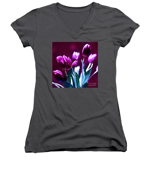 Purple Tulips Women's V-Neck