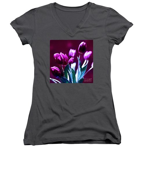Tulips In Purple Women's V-Neck (Athletic Fit)