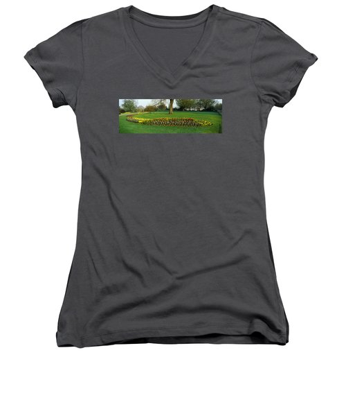 Tulips In Hyde Park, City Women's V-Neck T-Shirt (Junior Cut) by Panoramic Images