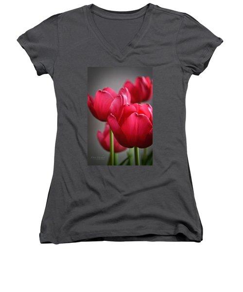 Tulips In The  Morning Light Women's V-Neck (Athletic Fit)