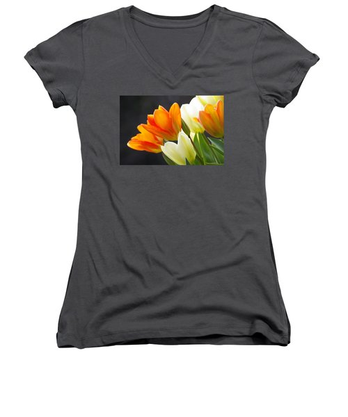 Women's V-Neck T-Shirt (Junior Cut) featuring the photograph Tulips by Marilyn Wilson