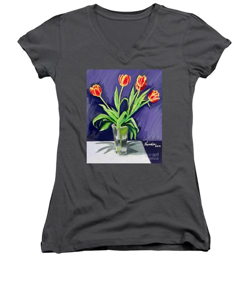 Tulips On The Table Women's V-Neck T-Shirt