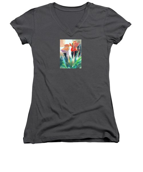 Women's V-Neck T-Shirt (Junior Cut) featuring the painting Tulips Together by Kathy Braud