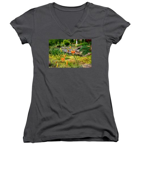 Women's V-Neck T-Shirt (Junior Cut) featuring the photograph Turk's Cap Lily by Kathryn Meyer