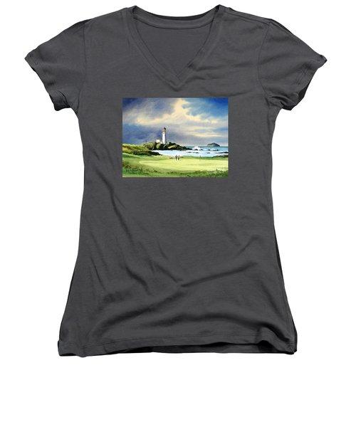 Turnberry Golf Course Scotland 10th Green Women's V-Neck T-Shirt (Junior Cut) by Bill Holkham