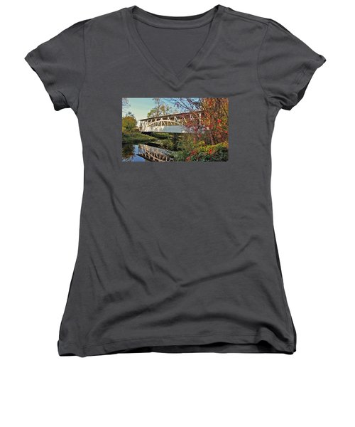 Women's V-Neck T-Shirt (Junior Cut) featuring the photograph Turner's Covered Bridge by Suzanne Stout