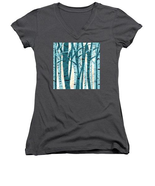 Turquoise Birch Trees Women's V-Neck