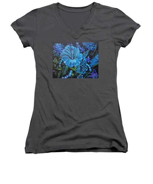 Turquoise Hibiscus Women's V-Neck T-Shirt (Junior Cut) by Jenny Lee