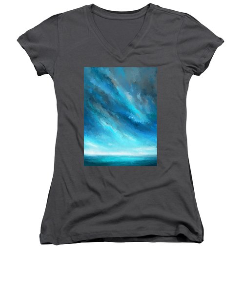 Turquoise Memories - Turquoise Abstract Art Women's V-Neck