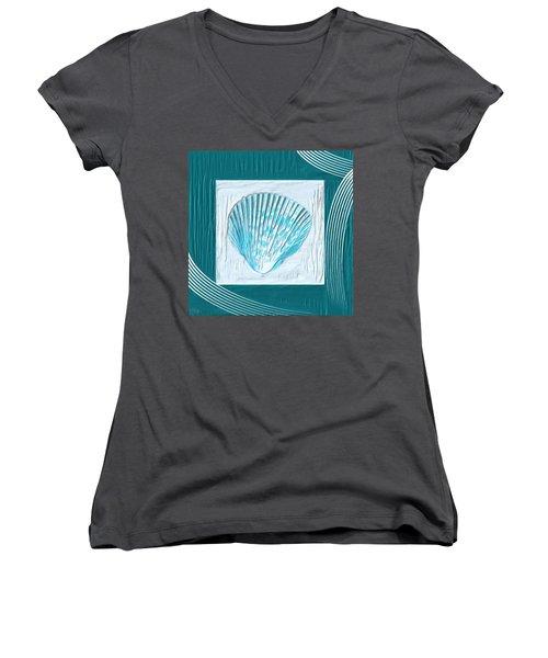 Turquoise Seashells Xxiii Women's V-Neck