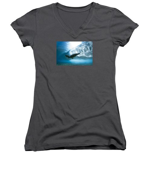 Turtle Clouds Women's V-Neck (Athletic Fit)